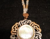 Beautiful mother of the pearl pendant with a champagne crystal necklace, antique, vintage, gifts for her