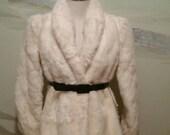 Vintage White Faux Fur Jacket Black Belt Still Has Tags Size 7