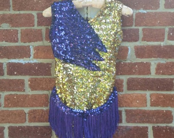 Sequined Bodysuit Gold Purple Majorette Circus Costume Fringe Skirt Adult S