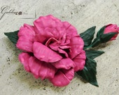 Leather  pink rose  pin brooch hair hat clip.Leather wedding anniversary gift . Corsage flower.