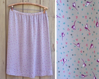 Vintage skirt | 1980s gray and purple print skirt