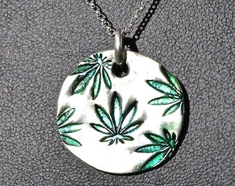 Marijuana Pure Silver Pendant