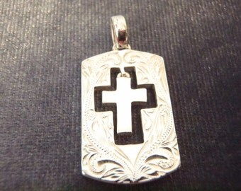 Sterling Silver Scroll Cutout Cross Pendant P64