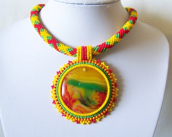 Bead Embroidery Beadwork Pendant Necklace with multi-color Agate - AFRICAN RHYTHMS - statement modern necklace - yellow, red, green necklace