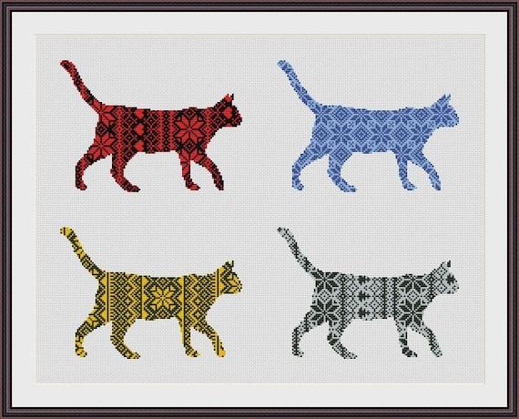 Nordic Ornament Christmas Cat Cross Stitch Pattern PDF Instant Download