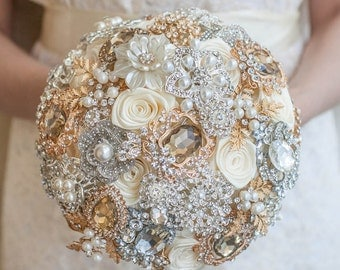 Brooch bouquet. Ivory, Champagne and Silver  Wedding Brooch bouquet. Bridal bouquet.
