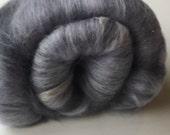 Carded Batt for Spinning and Felting/Art Batt/Spinning Fibre  Grey Mix with Mohair Locks