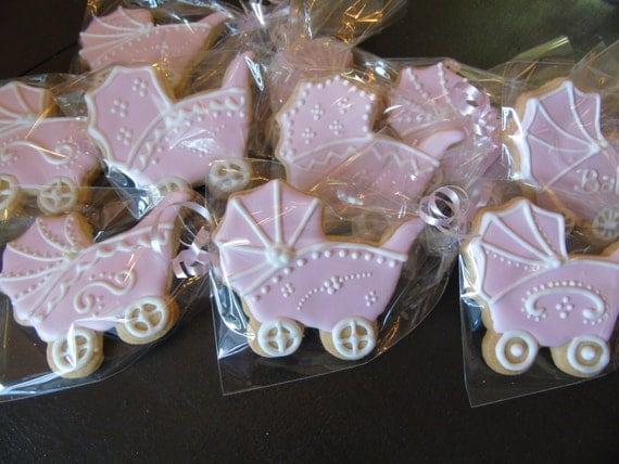Baby Shower Carriage Vanilla Sugar Cookies - 1 Dozen Assorted Designs