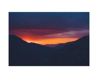 Light No. 3 Photography Print, Landscape Nature Photography, Golden Mountain Sunset Fine Art