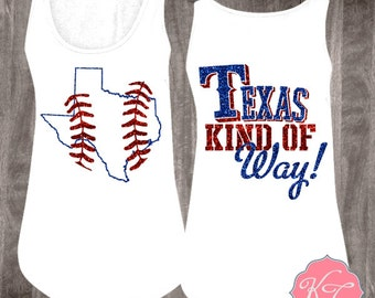 Texas Kind of Way Texas Baseball Tank in Glitter