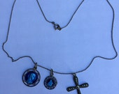 beautiful antique silver religious necklace with silver rhinestones cross and blue medals
