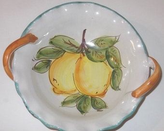 Italian Handmade Ceramic Bowl, Hand Painted Wavy Bowl, Lemon Decoration