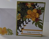 Hand stamped card, tropical flowers, choose your message
