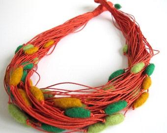 Felt Unique Orange Linen String Necklace with Green lemon and Mustard Felted Beads Merinowool Boho