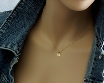 TINY 14K Solid Gold  Initial Necklace 6mm ( 1/4 inch)  Itty Bitty Gold Initial Disk 14k Solid Gold Disc - Hand Stamped Custom Necklace