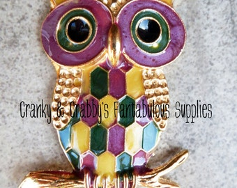 Cute Patchwork Owl with heart 64mm x 30mm  Enamel  Pendant - Animal Owl Fall Halloween Bird