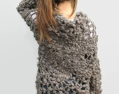 Crochet Woman Mandala Sweater Winter Woman Fashion Woman's Sweater Clothing M-L- Medium Grey Loose Wool