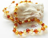 Amber Teething Necklace - Amber Jewelry - Natural Amber - Lemon and Cognac Amber Beads - Screw or Safety clasp - Choose Your Length, K-30