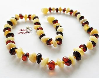 Baltic Amber Teething Necklace - Pure Amber - Cherry and Milky Amber Beads - Nursing Amber Necklace - Screw clasp , K-22