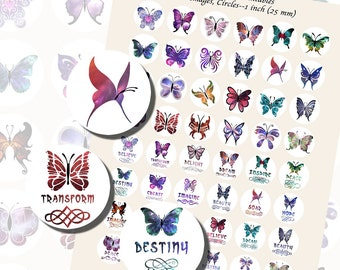 Butterfly Printables, ONE INCH CIRCLES (25 mm), with 1/2 inch (13mm) and 3/4 inch (20mm) circles also included