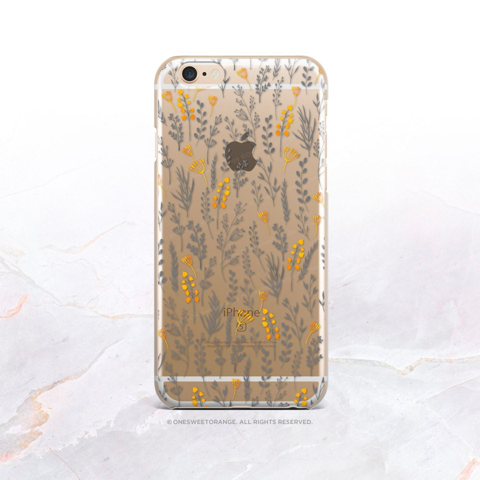 iPhone 7 Floral Clear Rubber Case iPhone 7 Plus Clear Case