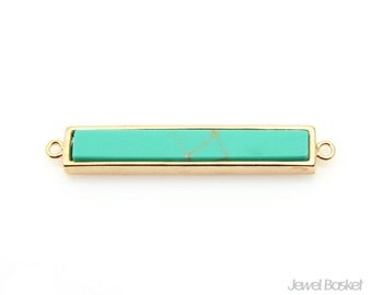 Turquoise Bar Pendant in Gold - 2 loops version / 6.3mm x 35.5mm / STQG104-P2 (1piece) - 2 loops