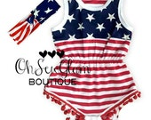IN STOCK Girls Fourth of July romper with Matching Headband- 4th of July - Patriotic Romper - 1st fourth of July - Toddler - Holiday Romper