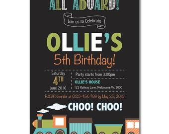 Birthday Party Invitations - Train - Birthday Invitation - Printable Invite