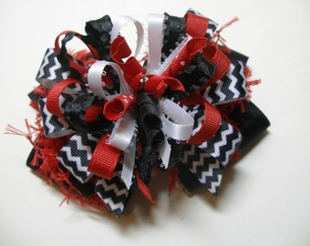 Large Over the Top CHEVRON Hair Bow Uniform Team Spirit Wear OTT Deluxe Hairbow Black Red and White