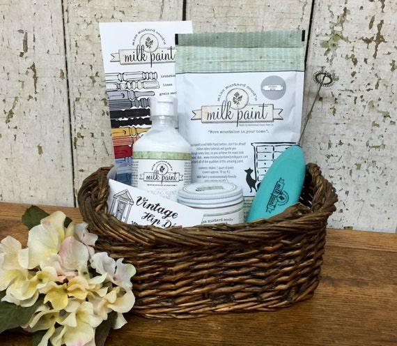 DIY Gift Basket - Miss Mustard Seed - Holiday Gift Basket - Best Paint for Furniture - Furniture Refurbishing - Craft Gift Basket