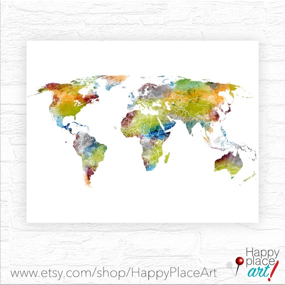 Watercolour world map poster large colourful world map watercolour world map poster large colourful world map printable digital file for immediate download great home and office wall art idea gumiabroncs Images