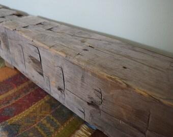 "Reclaimed Hand Hewn Barn Beam Wood Fireplace Mantel Shelf 84"" x 6"" x 6"" -  Beach Rustic Distressed Barnwood Grey"