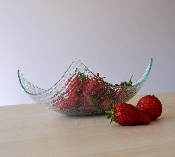Modern Minimalist Fused Glass Fruit Bowl Centerpiece Salad