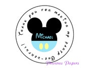 20 Personalized Baby blue Mickey Mouse first Birthday Stickers Mickey Party Favors Round Labels Mickey Mouse Return address label