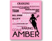 Lacrosse Typography Art Canvas or Print, Girl's Room Art, Choose Any Colors, Great Gift for any Female LAX Team or Coach, Lacrosse Playe