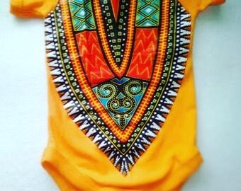 Mango Dashiki Print Onesie