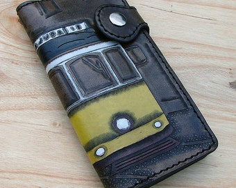 Cow leather wallet style biker with electric Lisbon