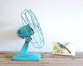 Reserved for alleycatsvintage Mid-Century Dominion Turquoise Fan - Not Working