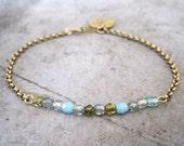 Czech Glass Bracelet-Charm Bracelet-Personalized Charm Bracelet-Initial Jewelry-Delicate Bracelet-Dainty Bracelet-Monogram Charm-Free Shipp