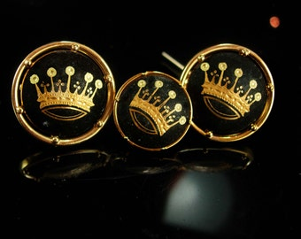 King & Queen Wedding Cufflinks Vintage Crown cufflinks groom cufflinks set Tuxedo gold damascene Swank Kaflinks CROWN Cuff links