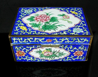 "Chinese Enamel Box Asian flowers Oriental lotus blossom large Trinket casket Blue brass 4""x3"" keepsake jewelry case Vintage metal hinged"