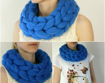 GIANT infinity scarf! Giant 100% merino wool scarf, SUPER soft, chunky, thick, ROYAL
