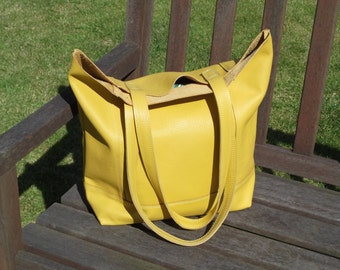Yellow Hand Made Leather Shopper/Tote/Casual Bag