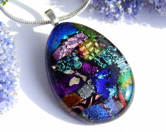 Dichroic Pendant - Fused Glass Jewelry - Multicolor Glass Necklace