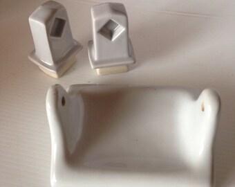Grey Porcelain Toilet Tissue TP Holder and towel bar ends Bathroom Vintage Hardware Bathroom Accessories