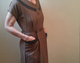 Vintage 1950s secretary wiggle dress, medium to large, rayon blend