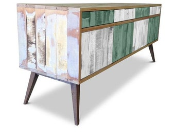 Retro Modern Mid Century Industrial Recycled Shabby Chic Country Farmhouse Sideboard / Buffet / Entertainment Unit - Checkered Green & White
