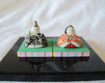 Vintage 70's Miniature Japanese Kimekomi Emperor Empress Doll Folk Art