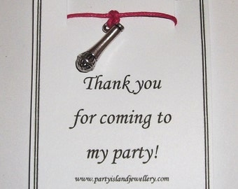 KARAOKE MICROPHONE Bracelet in 12 Colours - Thank you for coming to my party - party bags