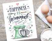 Kitchen Wall Decor - Kitchen Sign - Bakery Sign - Bakery Art - For the Baker - Happiness is Homemade - Kitchenaid
